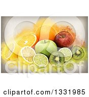 Clipart Of A Still Life Of Fruits With Grunge Royalty Free Illustration