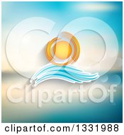 Cartoon Sun And Wave Icon Over A Blurred Ocean With Flares
