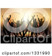 Clipart Of A Silhouetted Crowd Dancing In Grasses Above An Ocean Bay At Sunset Royalty Free Vector Illustration