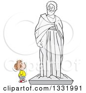 Clipart Of A Cartoon Brunette White Boy Appreciating A Large Statue Royalty Free Vector Illustration