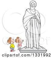 Clipart Of A Cartoon Brunette White Boy And Girl Appreciating A Large Statue Royalty Free Vector Illustration