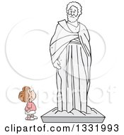 Clipart Of A Cartoon Brunette White Girl Appreciating A Large Statue Royalty Free Vector Illustration