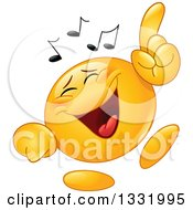 Clipart Of A Cartoon Yellow Emoticon Smiley Face Dancing To Music Royalty Free Vector Illustration