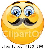 Clipart Of A Cartoon Yellow Emoticon Smiley Face With A Mustache Royalty Free Vector Illustration