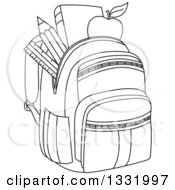 Lineart Clipart Of A Black And White Backpack Stuffed With School Supplies Royalty Free Outline Vector Illustration