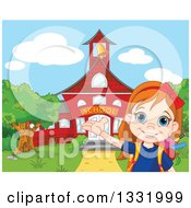 Clipart Of A Happy Girl Student Presenting A Red School Building Royalty Free Vector Illustration
