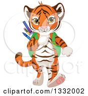 Clipart Of A Cute Tiger Cub Student Walking With A Backpack Full Of School Supplies Royalty Free Vector Illustration