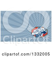 Clipart Of A Retro Male Mechanic Holding A Wrench And Pickup Truck On His Shoulder And Blue Rays Background Or Business Card Design Royalty Free Illustration by patrimonio