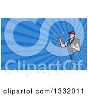 Clipart Of A Retro Male Mechanic Holding A Socket Wrench And A Tire And Blue Rays Background Or Business Card Design Royalty Free Illustration by patrimonio
