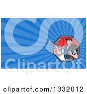 Clipart Of A Retro Male Mechanic Holding A Socket Wrench And A Tire In A Red Ray Hexagon And Blue Rays Background Or Business Card Design Royalty Free Illustration by patrimonio