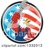 Clipart Of A Cartoon Bald Eagle Mechanic Man Holding Up A Wrench In An American Circle Royalty Free Vector Illustration