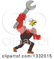 Clipart Of A Cartoon Bald Eagle Mechanic Man Holding Up A Wrench Royalty Free Vector Illustration