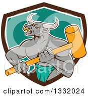 Cartoon Gray Bull Man Or Minotaur Holding A Sledgehammer And Emerging From A Brown White And Turquoise Shield