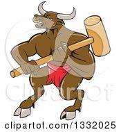 Cartoon Brown Bull Man Or Minotaur Holding A Sledgehammer