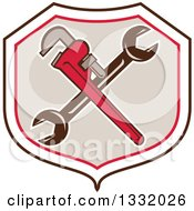 Clipart Of Retro Crossed Spanner And Monkey Wrenches In A Black White Red And Tan Shield Royalty Free Vector Illustration