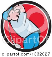 Clipart Of A Cartoon White Male Golfer Swinging In A Black White And Red Circle Royalty Free Vector Illustration by patrimonio