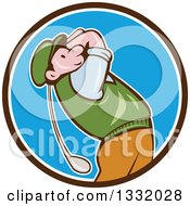 Clipart Of A Cartoon White Male Golfer Swinging In A Black White And Blue Circle Royalty Free Vector Illustration by patrimonio