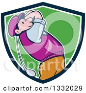 Clipart Of A Cartoon White Male Golfer Swinging In A Navy Blue White And Green Shield Royalty Free Vector Illustration by patrimonio