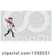 Clipart Of A Cartoon White Male Plumber Walking With A Monkey Wrench And Taupe Rays Background Or Business Card Design Royalty Free Illustration