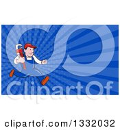 Clipart Of A Cartoon White Male Plumber Running With A Monkey Wrench And Dark Blue Rays Background Or Business Card Design Royalty Free Illustration