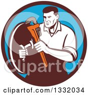 Clipart Of A Retro Male Plumber Holding A Monkey Wrench And Shield In A Brown And Blue Circle Royalty Free Vector Illustration