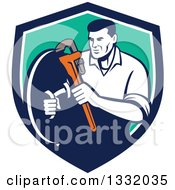 Clipart Of A Retro Male Plumber Holding A Monkey Wrench And Shield In A Blue White And Turquoise Shield Royalty Free Vector Illustration