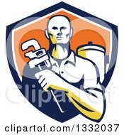 Retro Male Plumber Holding A Monkey Wrench In Front Of A Tank In A Navy Blue White And Orange Shield