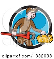 Clipart Of A Cartoon White Male Plumber Carrying A Monkey Wrench And Tool Box In A Black White And Blue Circle Royalty Free Vector Illustration