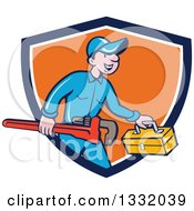 Clipart Of A Cartoon White Male Plumber Carrying A Monkey Wrench And Tool Box In A Blue White And Orange Shield Royalty Free Vector Illustration