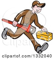 Clipart Of A Cartoon White Male Plumber Running With A Monkey Wrench And Tool Box Royalty Free Vector Illustration