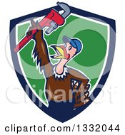 Clipart Of A Cartoon Turkey Bird Plumber Holding Up A Monkey Wrench In A Navy Blue White And Green Shield Royalty Free Vector Illustration by patrimonio