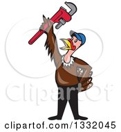 Clipart Of A Cartoon Turkey Bird Plumber Worker Man Wearing A Baseball Cap And Holding Up A Monkey Wrench Royalty Free Vector Illustration by patrimonio