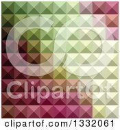 Clipart Of A Geometric Background Of 3d Pyramids In Deep Mauve Purple And Green Royalty Free Vector Illustration