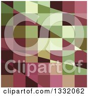 Clipart Of A Low Poly Abstract Geometric Background Of Deep Tuscan Red Purple And Green Royalty Free Vector Illustration