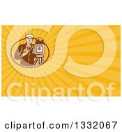 Clipart Of A Retro Photographer Using A Bellows Camera And Orange Yellow Rays Background Or Business Card Design Royalty Free Illustration by patrimonio