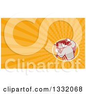 Clipart Of A Retro Photographer Using A Bellows Camera And Orange Rays Background Or Business Card Design Royalty Free Illustration by patrimonio