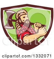 Clipart Of A Retro Lumberjack In Plaid And A Raccoon Hat Holding An Axe Over His Shoulder In A Brown White And Green Shield Royalty Free Vector Illustration by patrimonio