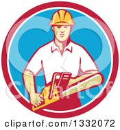 Poster, Art Print Of Retro White Male Tree Surgeon Arborist Holding A Chainsaw In A Red White And Blue Circle
