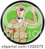 Clipart Of A Retro White Male Gas Station Attendant Jockey Holding A Nozzle And Waving In A Black White And Green Circle Royalty Free Vector Illustration