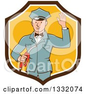 Clipart Of A Retro White Male Gas Station Attendant Jockey Holding A Nozzle And Waving In A Brown White And Yellow Shield Royalty Free Vector Illustration