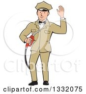 Clipart Of A Retro White Male Gas Station Attendant Jockey Holding A Nozzle And Waving Royalty Free Vector Illustration by patrimonio