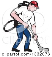 Cartoon White Male Janitor Worker Vacuuming And Looking Down