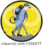 Cartoon White Male Janitor Worker Vacuuming And Looking Down In A Black And Yellow Circle