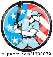 Poster, Art Print Of Retro Male Baseball Player Batting Inside An American Stars And Stripes Circle