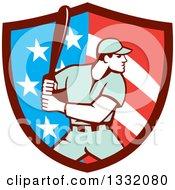 Poster, Art Print Of Retro Male Baseball Player Batting Inside An American Stars And Stripes Shield