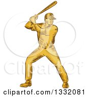 Clipart Of A Retro Sketched Or Engraved Yellow Baseball Player Batting Royalty Free Vector Illustration