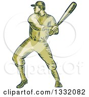 Clipart Of A Retro Sketched Or Engraved Baseball Player Batting Royalty Free Vector Illustration