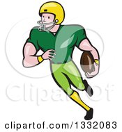 Clipart Of A Cartoon White Male Girdiron Player Running With A Football In Hand Royalty Free Vector Illustration