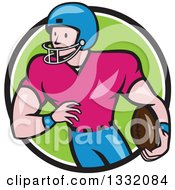 Clipart Of A Cartoon White Male Girdiron Player With A Football In Hand Inside A Black White And Green Circle Royalty Free Vector Illustration