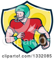 Clipart Of A Cartoon White Male Girdiron Player With A Football In Hand Inside A Black White And Yellow Shield Royalty Free Vector Illustration